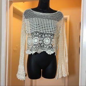 Crochet beige top with bell sleeves